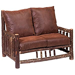 hickory log frame loveseat real wood western lodge rustic cabin sofa - Wood Frame Loveseat