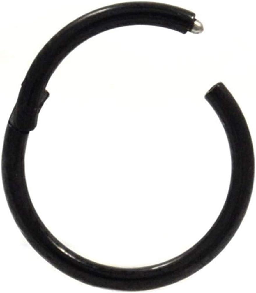 All Black Steel Hinged Segment Ring Hoop Ear Lip Nose Piercing