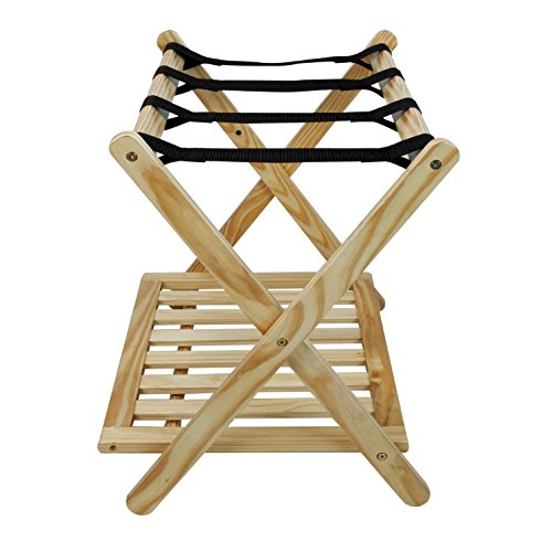 Luggage Rack For Suitcases Solid Wood - Hotel Style Home Storage Shelf Best For Bedroom, Guest Room Folding Bundle w Floor Protector Pads (Natural)