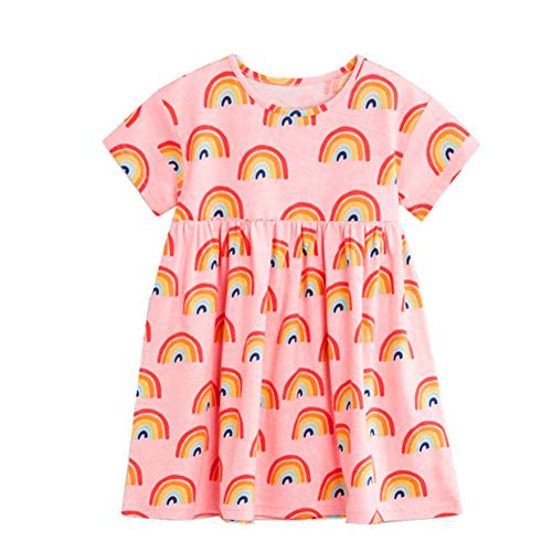 (Little Girls Cotton Casual Cartoon Unicron Rainbow Print Short Sleeve Skirt Dresses Pink)
