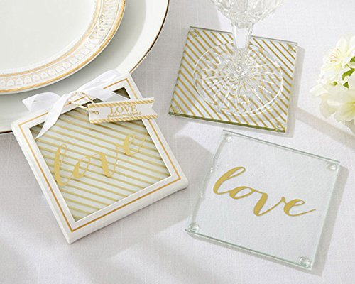 48 SETS of 2 Gold Love Glass Coasters by Kateaspen