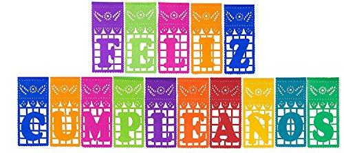 """FELIZ CUMPLEAÑOS Mexican Plastic Papel Picado - """"FELIZ CUMPLEAÑOS"""" - Designs as Pictured By Paper Full of Wishes"""