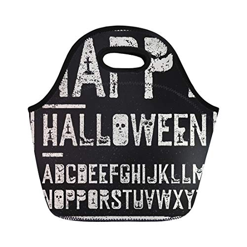 (Semtomn Lunch Bags Black Creepy Happy Halloween Alphabet Stamp Letters Scary Bats Neoprene Lunch Bag Lunchbox Tote Bag Portable Picnic Bag Cooler)