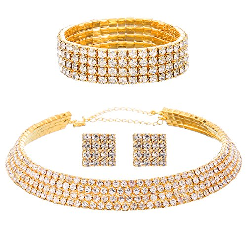 FANCY LOVE 1/2/3/4/5 Row Wedding Crystal Rhinestone Bridal Necklace Earrings and Bracelet Jewelry Set ()