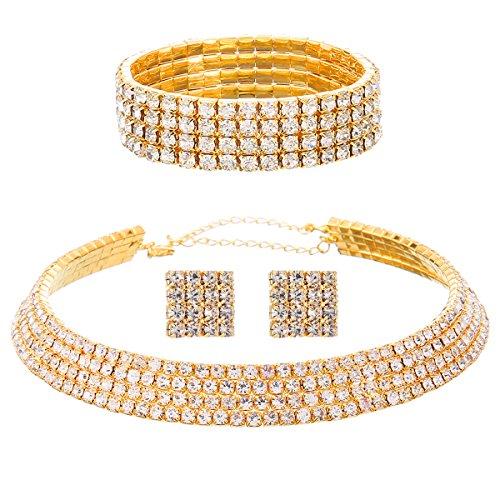 FANCY LOVE 1/2/3/4/5 Row Wedding Crystal Rhinestone Bridal Necklace Earrings and Bracelet Jewelry - Rhinestone Necklace Gold