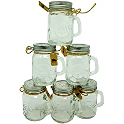 Smiths Mason Jars Mini Mason Jar Shot Glasses set of 6 Shot glasses 120 ml each, great gift tag Wedding Favors, Mason Jar Sand and Pepper shakers, shots you name it!