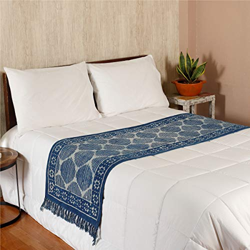 (HANDICRAFT-PALACE Indian Block Printed Cotton Bed Runner Room Decor Table Runner with Decorative Fringe for Spring Summer Family Dinners Outdoor Parties Everyday Use Throw (Indigo Blue Star Striped))