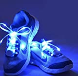 LED Light Up Shoelaces by Light It Up (Blue - One Size Fits All) - 4 modes to choose from, Waterproof, Great for being seen at night walking, running, concerts, EDM parties, - Quality white nylon