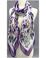 """""""Fashion Scarf""""~ White with Purple Butterflies and Border ~ 27"""" x 70"""""""