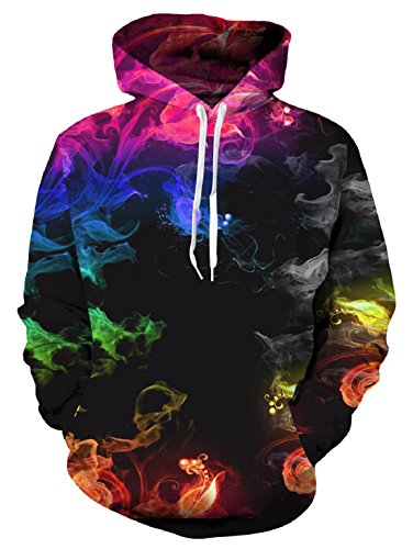 Uideazone Unisex 3D Hoodie Cool Pullover Hooded Sweatshirts Big Pockets Fleece Plush Lining
