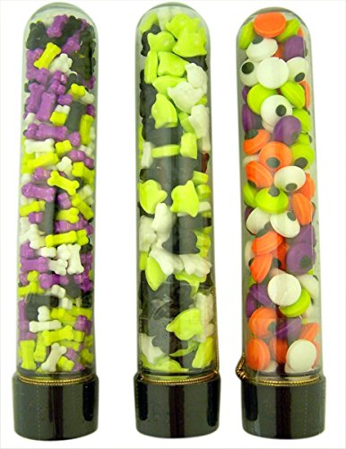 Plastic Science Lab Test Tube Containers with Assorted Halloween Candy Pieces, Case of 12