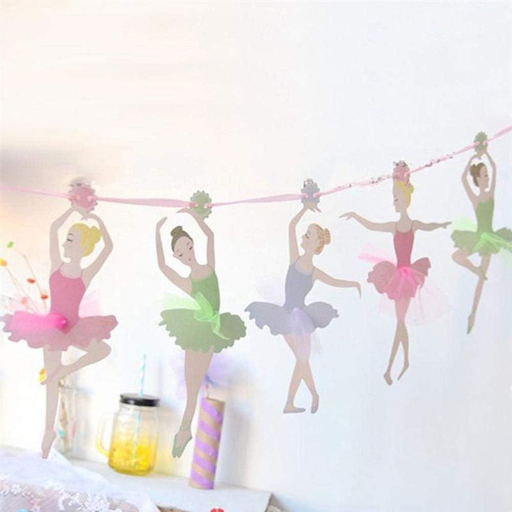 uyhghjhb Suministros para la Fiesta de cumplea/ños de la Bandera de la Muchacha del Ballet del Baile del empavesado Que cuelga