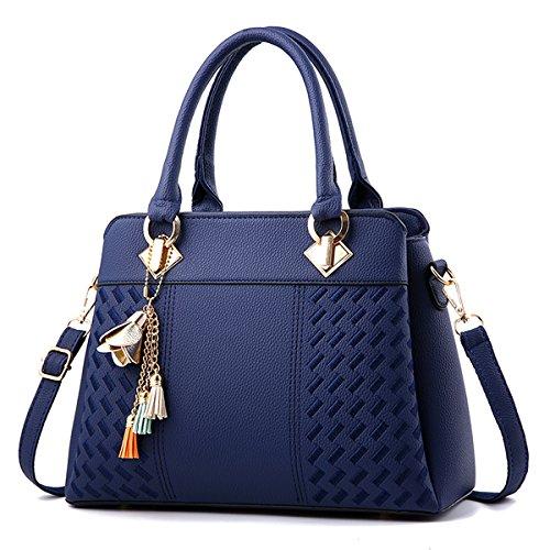 Charmore Women's Handbags Top Handle Satchel Shoulder Bags - Blue Purse