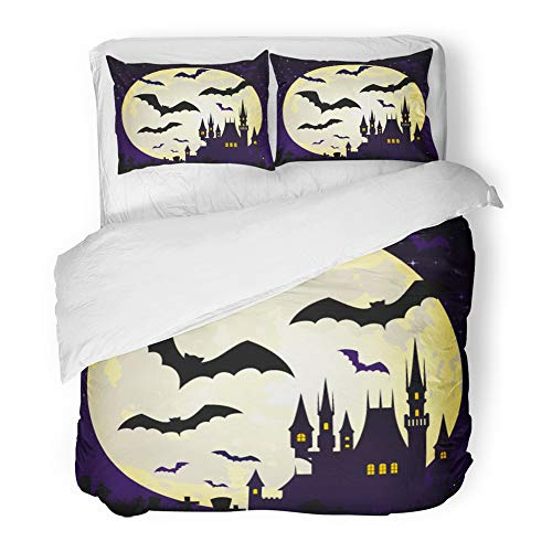 Emvency Bedding Duvet Cover Set King Size (1 Duvet Cover + 2 Pillowcase) Flying Halloween with Castle and Bats On Full Moon Abstract Autumn Black Cartoon Hotel Quality Wrinkle