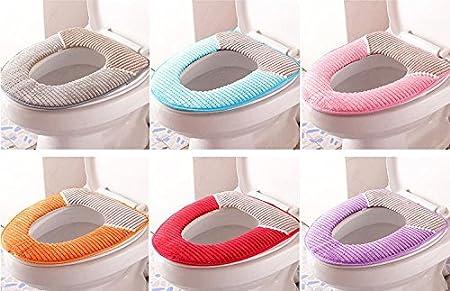 rose Leayao Lunette de toilette chaude en velours c/ôtel/é /à rayures /étanche Tapis de toilette /épais