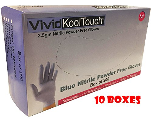 10 Boxes of Size Medium, Blue Nitrile Exam Gloves, 200 Gloves Per Box (Medical Grade, Powder Free, Non Latex, Food Safe) by Vivid