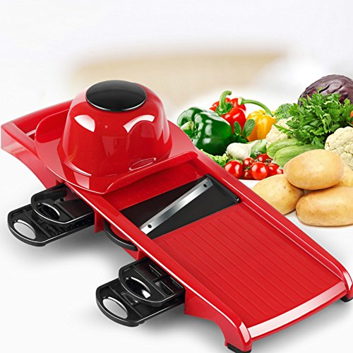 SUMCOO 6 in 1 Vegetable Slicer,Multi Function Mandoline Slicer and Vegetable Grater,Chopper,Julienne Peeler With...