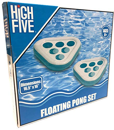 High Five 2pk Beer Pong Pool Beach Inflatable Float Drink Game (Light Blue)