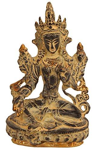 Tara Brass Statue - Aone India Tara Buddha Brass Statue Tibetan Antique Buddhism Yin Kwan Goddess Bodhisattva Sculpture-Vintage Collectible Figurine + Cash Envelope (Pack Of 10)