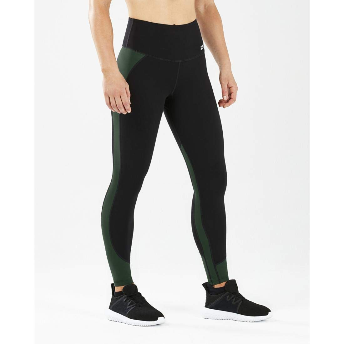 2XU Women's Fitness Hi-Rise Comp Tights, Black/Mountain View, M-T by 2XU