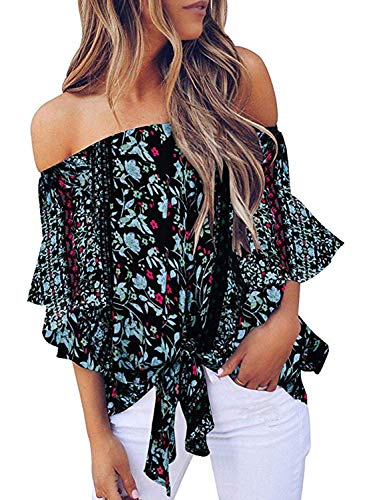 CILKOO Women's Tops Sexy Off The Shoulder Ruffle Sleeve Floral Spring Casual T-Shirt Tops Blouse Black US4-6 - Shoulder Top Off Sexy