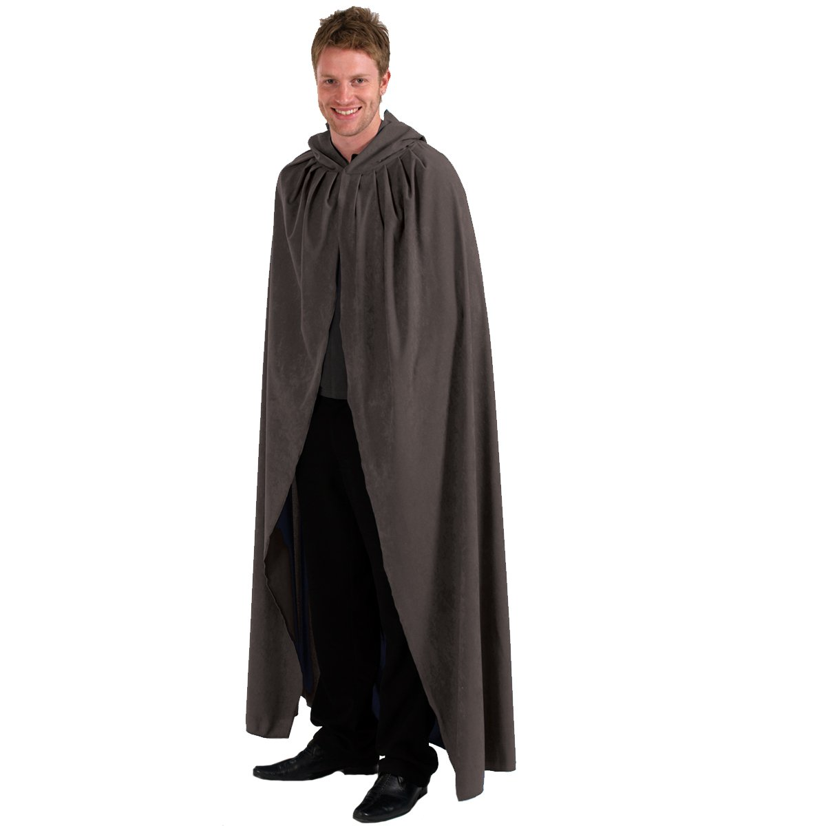charlie crow grey cloak cape with hood for adults large
