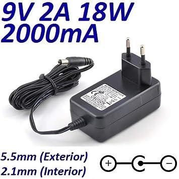 Cargador Corriente 9V 2A 2000mA 5.5mm 2.1mm 18W Centro ...