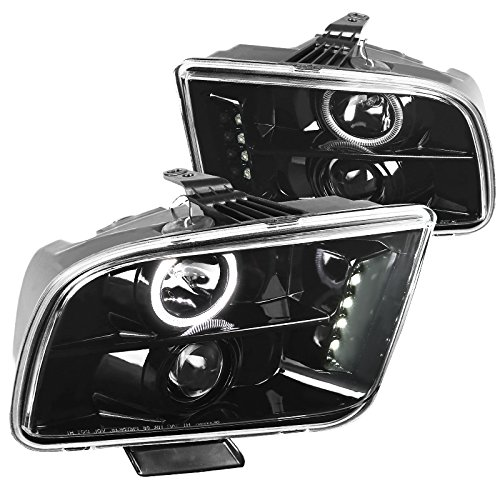 Jet Black Ford Mustang LED Halo Projector Headlights Headlamps Left+Right