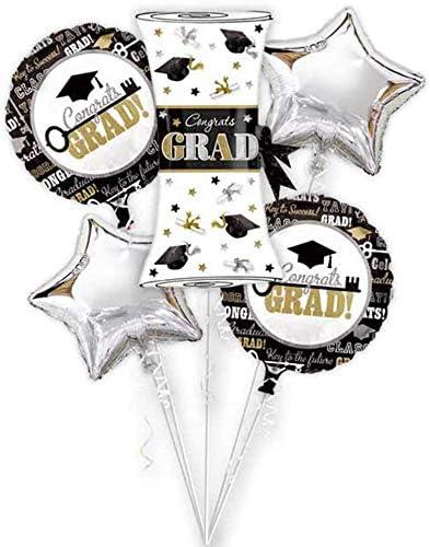 Graduation Party Mylar Balloons 3pc set Grad hat round black silver