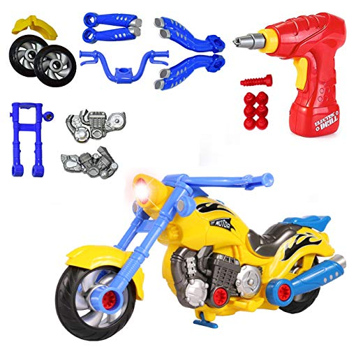 Liberty Imports Kids Take Apart Toys - Build Your Own Toy Motorcycle Vehicle Construction Playset - Realistic Sounds and Lights with Tools and Power Drill (Motorcycle)