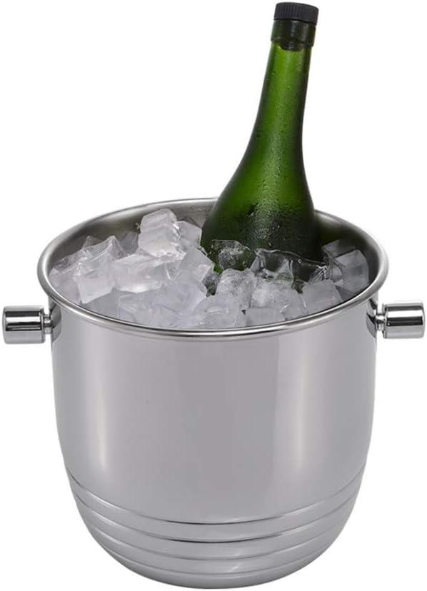 GXFeng Cubeta de hielo Espese el contenedor de cubitos de hielo de acero inoxidable con manijas y pinzas de bonificación Enfriadores de hielo, Para vino Champagne Cerveza barril Partes Ktv Bar, 22x20c