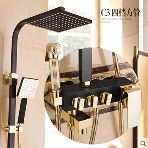 Duscharmatur Badewannenarmaturensets Badezimmer Luxus Schwarz Goldene Dusche Mischbatterie mit Bidet Dusche AntikGold Duschset Badezimmer, C3