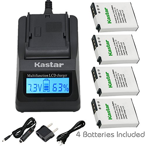 (Kastar Ultra Fast Charger(3X faster) Kit and Battery (4-Pack) for Nikon EN-EL12 MH-65 work with Nikon Coolpix AW100, AW100s, AW110, AW110s, AW120, AW120s, P300, P310, P330, P340, S31, S70, S610, S620, S630, S640, S800c, S1000pj, S1100pj, S1200pj, S6000, S6100, S6150, S6200, S6300, S8000, S8100, S8200, S9050, S9100, S9200, S9300, S9400, S9500, S9600, S9700, S9700s Cameras [Over 3x faster than a normal charger with portable USB charge function])