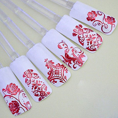 Flamboyant Chic Trusty Manicure 3D Flower Decal Art Tip stamping Decoration Nail Stickers 108Pcs Red