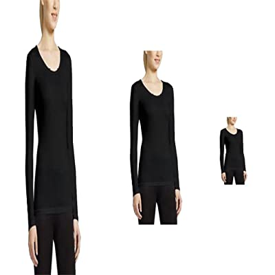 32 Degrees Weatherproof Womens Long Sleeve Scoop Neck Base Layer (Medium, Black)