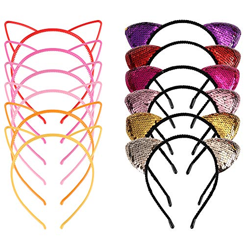 LOYALLOOK 12 Pieces Cat Ears Headbands Sequins Kitty Cats Crown Fluffy Hair Hoop Hair Accessories for Women Girls Daily Life and Party Supplies