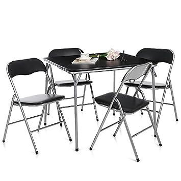 ikayaa set tavolo e sedie arredo metallo pieghevole cucina tavolo ... - Set Tavolo E Sedie Cucina