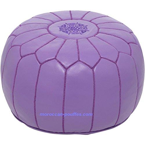 Moroccan Poufs Leather Luxury Ottomans Footstools Purple Unstuffed (Pouf Ottoman Purple)