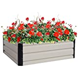 Globe House Products GHP 35.4''x35.4''x11.8'' Steel Flower Plant Vegetable Raised Outdoor Yard Garden Bed