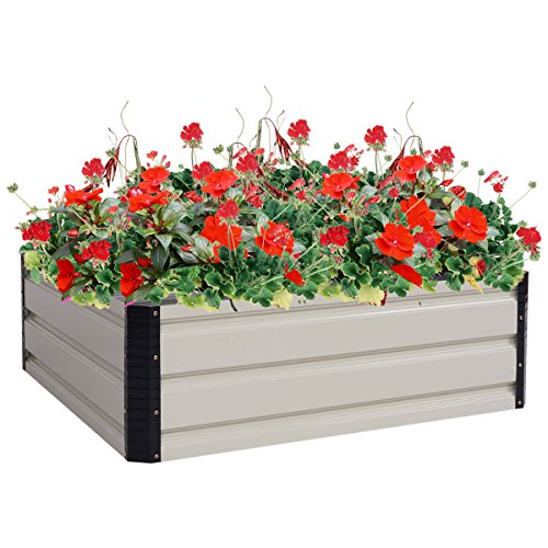 Globe House Products GHP 35.4''x35.4''x11.8'' Steel Flower Plant Vegetable Raised Outdoor Yard Garden Bed by Globe House Products