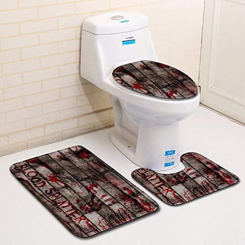 Blood Handprint Bathroom Toilet Mats, Halloween 3 Pieces Set Non Slip Floor Carpets for Textured Tub Rug Runners