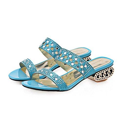 AgooLar Mujeres Puntera Abierta Sin cordones Sintético Tachonado Mini tacón Sandalia Azul
