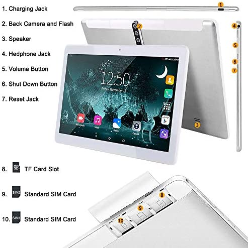 10 Inch Android Tablet PC, 5G Wi-Fi, Octa -Core Processor, Android 9.0, 4GB RAM + 64ROM, 1280×800 IPS HD Display, Bluetooth,GPS,5000 mah Battery,G3 (Silver) 513JSwCikkL