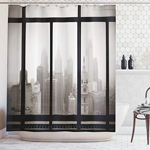 Ambesonne USA Shower Curtain House Decor, Philadelphia City Rooftop Window View Skyline Landmark Rooftop Travel Cityscape Artsy Print, Bathroom Accessories, with Hooks, 69W X 70L Inches, Grey Black