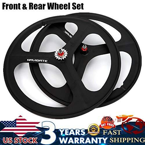 NOPTEG Fixed Gear 700c Tri Spoke Rim Fixie Bike Wheel Set (Front & Rear) Black