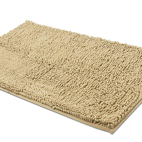 ITSOFT Non Slip Shaggy Chenille Soft Microfibers Bathroom Rug with Water Absorbent, Machine Washable, 21 x 34 Inches Beige (Washing Bathroom Rugs In Front Load Washer)