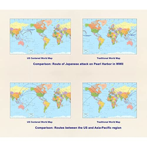 On Sale United States Centered World Map Laminated 535 X 32 - Us-centered-world-map