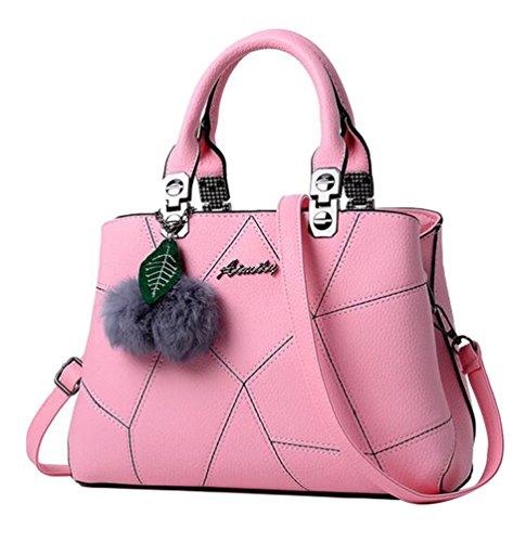 Baymate Mujer Elegante Crossbody del Bolso Casual Bolso de PU Cuero Bolsa de Hombro Pink