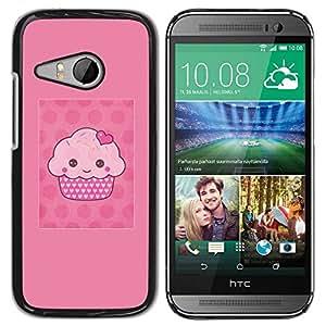 TopCaseStore / la caja del caucho duro de la cubierta de protección de la piel - Pink Muffin Polka Dot - HTC ONE MINI 2 / M8 MINI