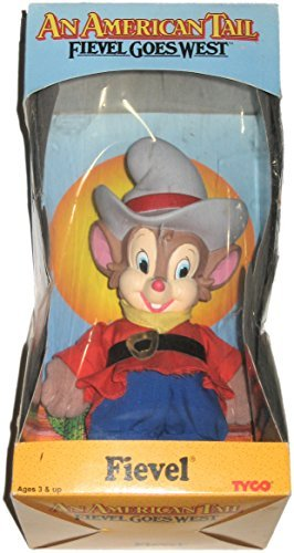 An American Tail Fievel Goes West Vintage 1991 8-Inch Plush and Plastic Fievel Toy